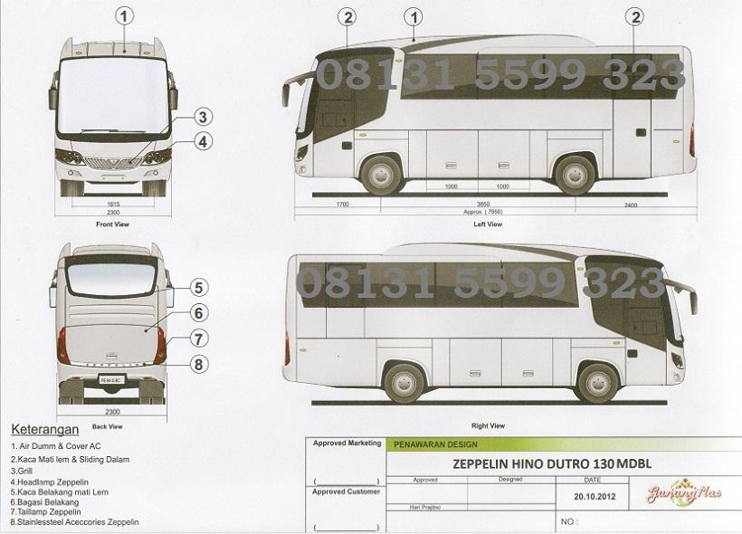 Karoseri bus deluxe 25 seat, zeppelin