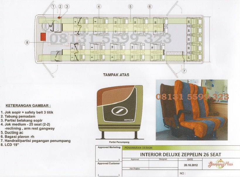 Karoseri bus deluxe 25 seat, zeppelin, karoseri bus yang nyaman dan aman.